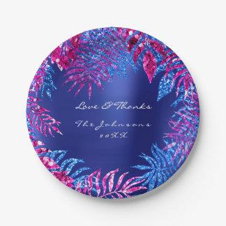 Prato De Papel Branco cor-de-rosa tropical do índigo do azul de
