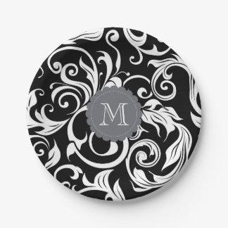 Prato De Papel Branco do preto do papel de parede floral do