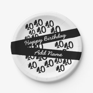 Prato De Papel Branco preto Funky personalizado aniversário de 40