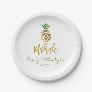 Prato De Papel Branco Wedding do abacaxi havaiano tropical de