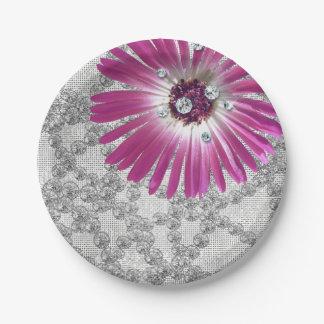 Prato De Papel Brilho Amethyst roxo do Gerbera do diamante da