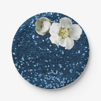 Prato De Papel Brilho branco azul do jasmim da safira do marinho