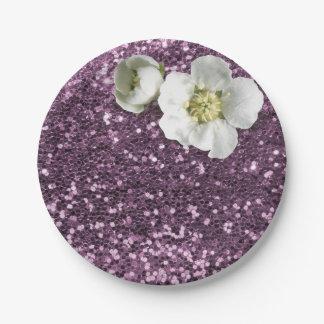 Prato De Papel Brilho branco do jasmim da ameixa roxa Amethyst