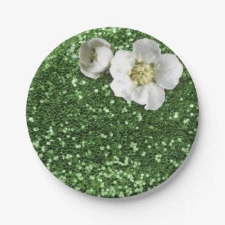 Prato De Papel Brilho branco do jasmim das hortaliças do verde