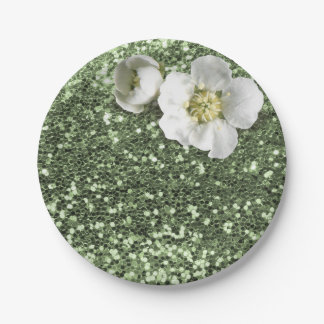 Prato De Papel Brilho branco do jasmim das hortaliças verdes da