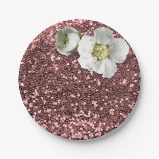 Prato De Papel Brilho branco do jasmim do rosa cor-de-rosa do