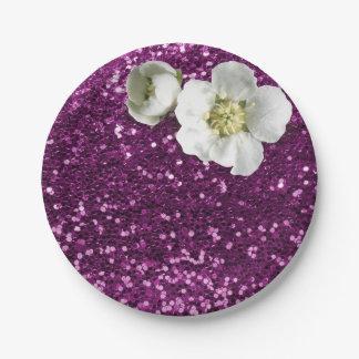 Prato De Papel Brilho branco floral Amethyst roxo do jasmim