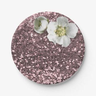 Prato De Papel Brilho branco floral do jasmim de Bush do ouro