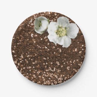 Prato De Papel Brilho branco floral do jasmim do chocolate de