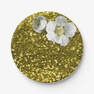 Prato De Papel Brilho branco floral do jasmim do limão