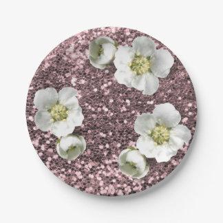 Prato De Papel Brilho branco floral do jasmim do Sequin