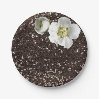 Prato De Papel Brilho branco floral do jasmim do Sequin do café