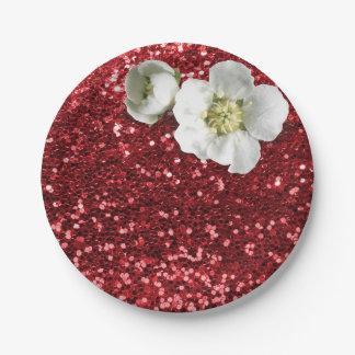 Prato De Papel Brilho branco vermelho do jasmim do rubi de
