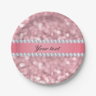 Prato De Papel Brilho cor-de-rosa Bokeh e diamantes