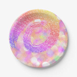 Prato De Papel Brilho cor-de-rosa da espiral do ouro do arco-íris