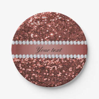 Prato De Papel Brilho cor-de-rosa e diamantes do falso do ouro