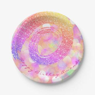 Prato De Papel Brilho cor-de-rosa feito sob encomenda da espiral