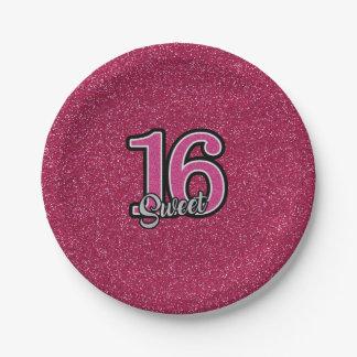 Prato De Papel Brilho cor-de-rosa SWEET16