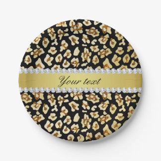 Prato De Papel Brilho do ouro do falso do leopardo e preto da