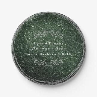 Prato De Papel Brilho floral de prata verde do casamento da