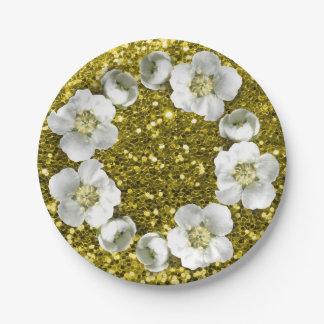 Prato De Papel Brilho floral do casamento da grinalda do limão