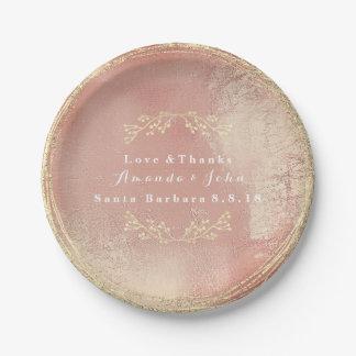 Prato De Papel Brilho floral metálico do casamento da grinalda do