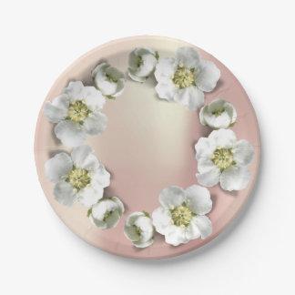 Prato De Papel Brilho floral perolado metálico da grinalda do