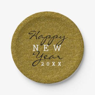 Prato De Papel Brilho na moda do ouro do feliz ano novo