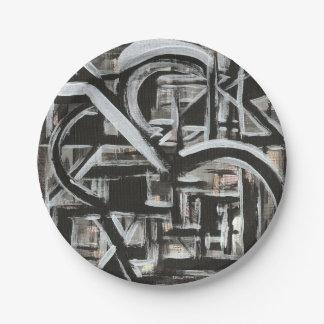 Prato De Papel Brushstrokes abstratos pintados Bungalow-Mão