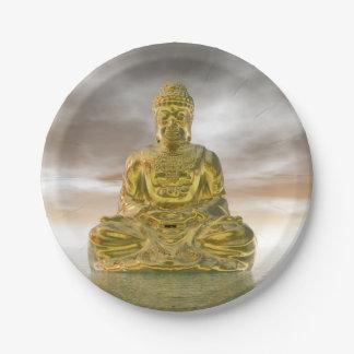 Prato De Papel Buddha dourado - 3D rendem