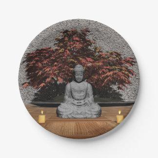 Prato De Papel Buddha em uma sala - 3D rendem