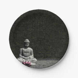 Prato De Papel Buddha na sala cinzenta - 3D rendem