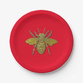 Prato De Papel Bumble a abelha e a sua cor