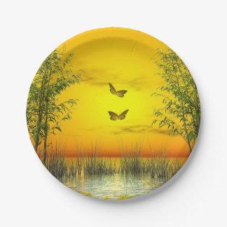 Prato De Papel Butterlflies pelo por do sol - 3D rendem