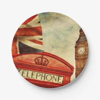 Prato De Papel Cabine e Big Ben de telefone vermelha em Londres,