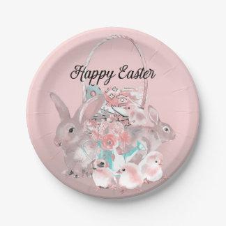 Prato De Papel Caça cor-de-rosa bonito do ovo da festa de