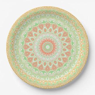Prato De Papel Caleidoscópio alaranjado e verde brilhante do