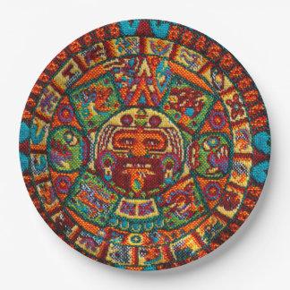 Prato De Papel Calendário maia colorido