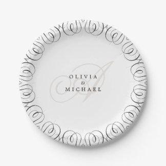 Prato De Papel Caligrafia elegante branca preta do flourish do