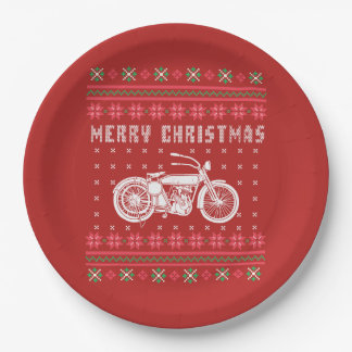 Prato De Papel Camisola feia do Natal da motocicleta do vintage