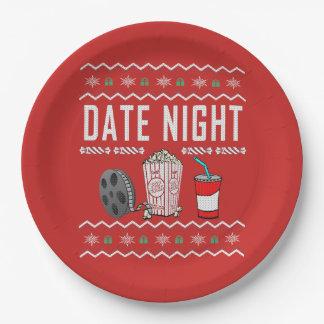 Prato De Papel Camisola feia do Natal da noite da data