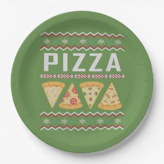 Prato De Papel Camisola feia do Natal da pizza