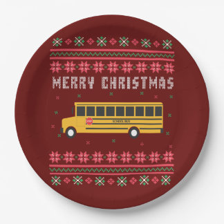 Prato De Papel Camisola feia do Natal do auto escolar