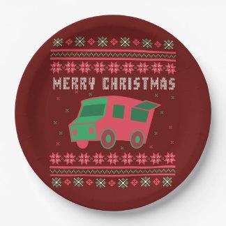 Prato De Papel Camisola feia do Natal do caminhão da comida