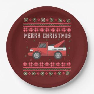 Prato De Papel Camisola feia do Natal do caminhão de reboque