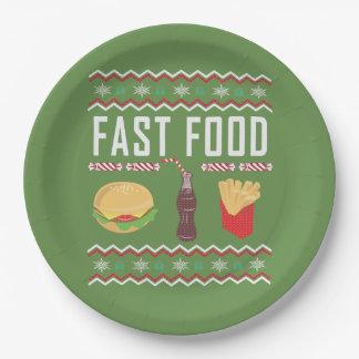 Prato De Papel Camisola feia do Natal do fast food
