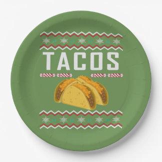 Prato De Papel Camisola feia do Natal do Tacos