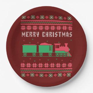 Prato De Papel Camisola feia do Natal do trem de Choo-Choo