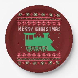 Prato De Papel Camisola feia do Natal do trem locomotivo de