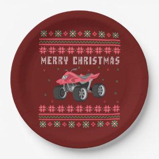 Prato De Papel Camisola feia do Natal do veículo com rodas de ATV